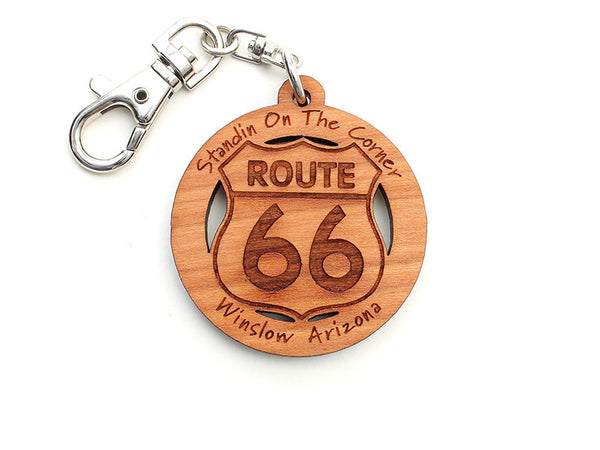 On The Corner Route 66 Custom Key Chain - Nestled Pines