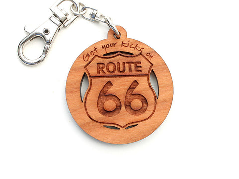 On The Corner Get Your Kicks on Route 66 Custom Key Chain - Nestled Pines