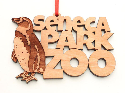 Seneca Park Zoo South African Penguin Custom Text Ornament