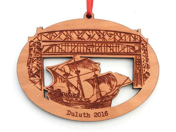 Duluth Sailboat Detail Oval Ornament - Nestled Pines