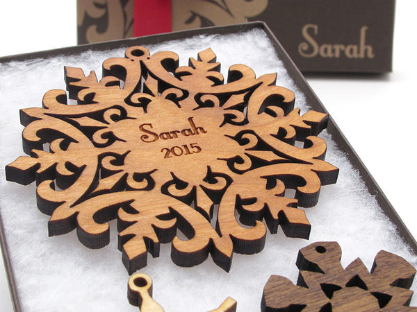 Snowflake Personalized Wood Christmas Ornament - Nestled Pines - 1