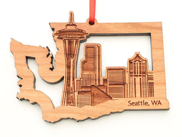 Seattle City Skyline in Washington State Cut Out Insert Ornament