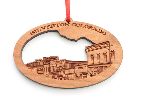 "Silverton, Colorado ""Skyline"" Custom Wood Ornament - Nestled Pines"