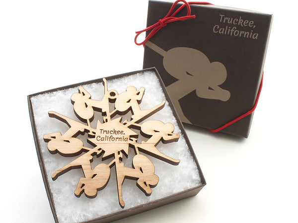 Truckee Skier Flake Ornament - Nestled Pines