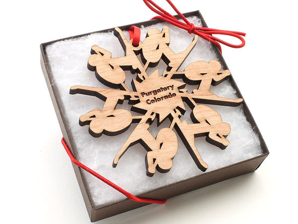 Purgatory Colorado Skier Snowflake Ornament