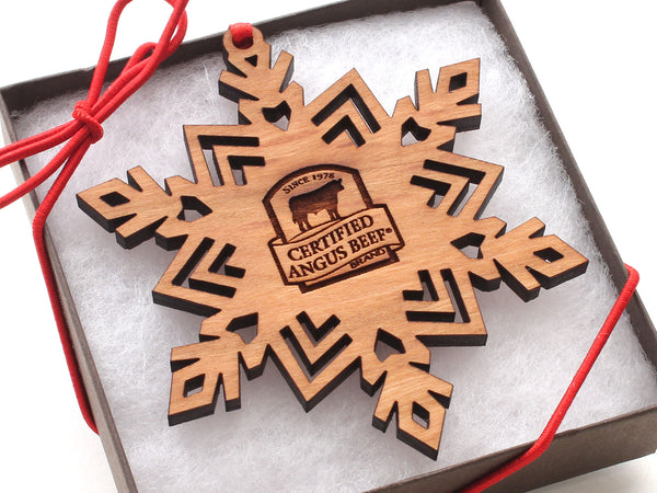 Certified Angus Logo Snowflake Ornament Gift Box
