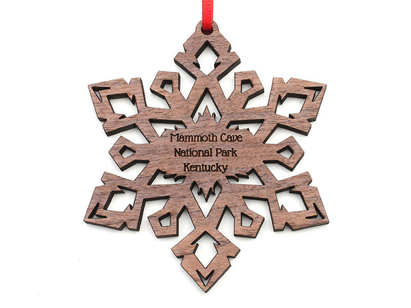 Mammoth Cave Walnut Crystal Snowflake Ornament - Nestled Pines