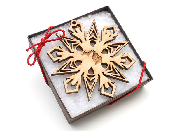 Ciao Bella Michigan Engraved Snowflake Ornament - Nestled Pines