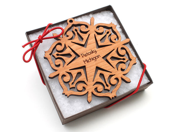 Ciao Bella Petosky Michigan Engraved Snowflake Ornament - Nestled Pines