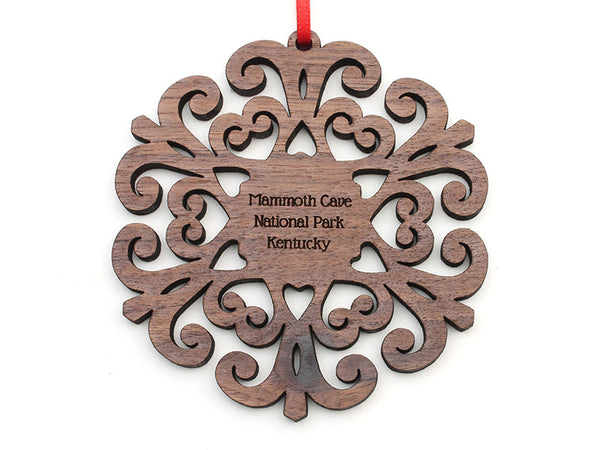 Mammoth Cave Walnut Filigree Snowflake Ornament - Nestled Pines