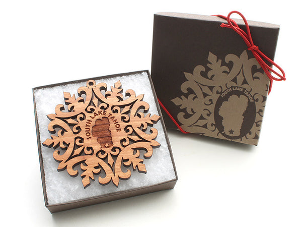 Lake Tahoe Snowflake Ornament - Nestled Pines - 2