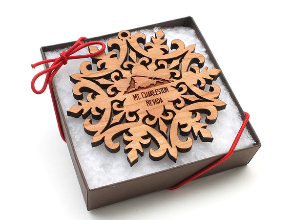 Red Rock Mount Charleston Snowflake Ornament - Nestled Pines