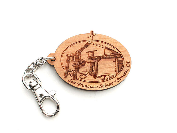 Solano Mission Oval Key Chain - Nestled Pines