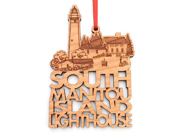 Sleeping Bear Dunes South Manitou Lighthouse Text Ornament - Nestled Pines