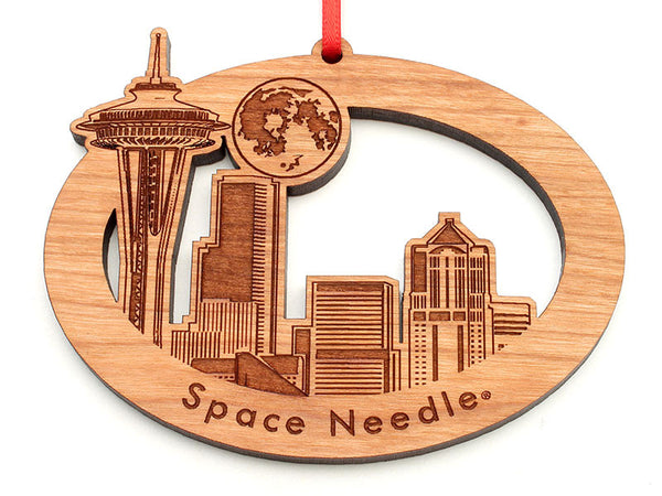Space Needle City Skyline Moon Oval Ornament