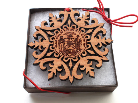 State Seal of Wisconsin Snowflake Ornament Gift Box