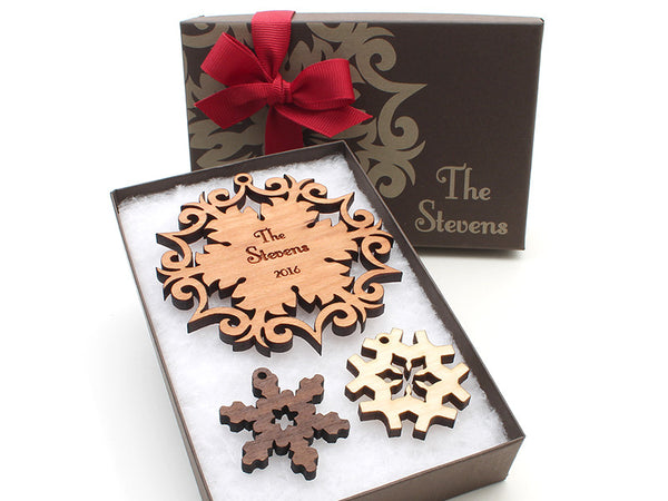 Wrought Iron Design Family Name Personalized Wood Snowflake Christmas Ornament - Nestled Pines - 3