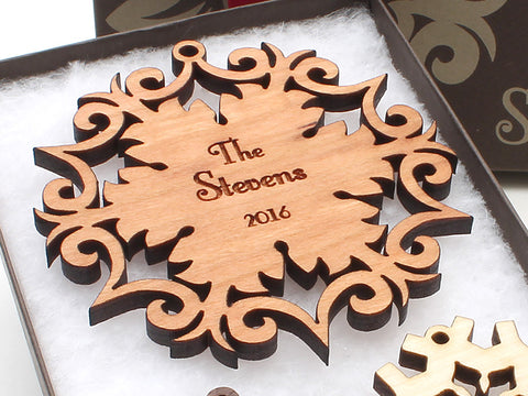 Wrought Iron Design Family Name Personalized Wood Snowflake Christmas Ornament - Nestled Pines - 1