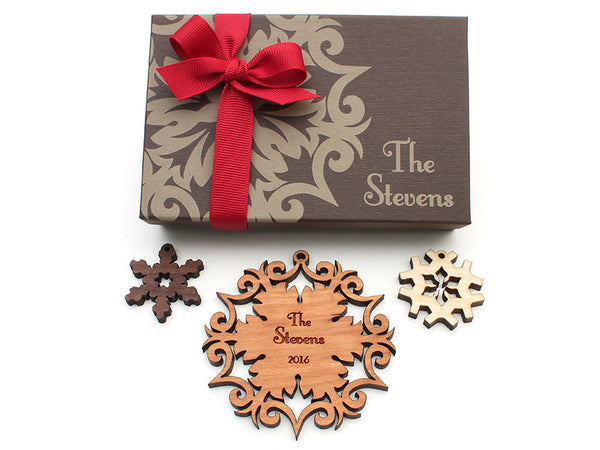 Wrought Iron Design Family Name Personalized Wood Snowflake Christmas Ornament - Nestled Pines - 2
