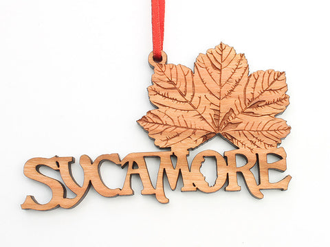 Blumen Gardens Sycamore Leaf Text Ornament - Nestled Pines