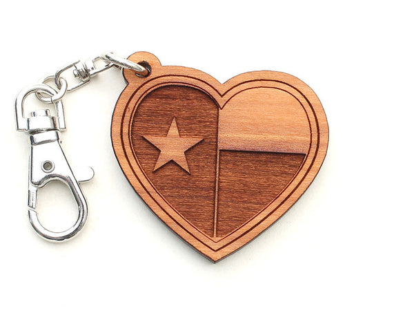 Lone Star Texas Flag Heart Key Chain