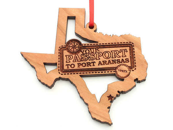 Lone Star Texas State Shape Port Aransas Passport Insert Ornament