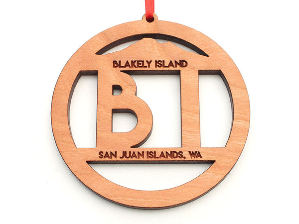 Blakely Island BI Text Custom Circle Ornament