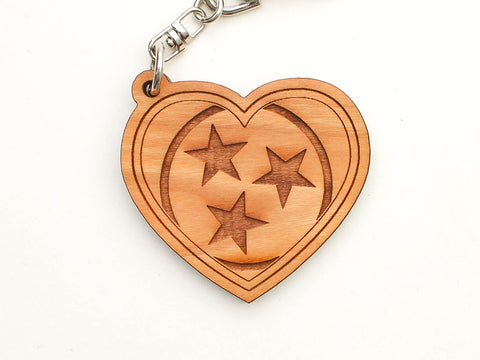 Old Glory Distilling Tennessee Flag Heart Key Chain