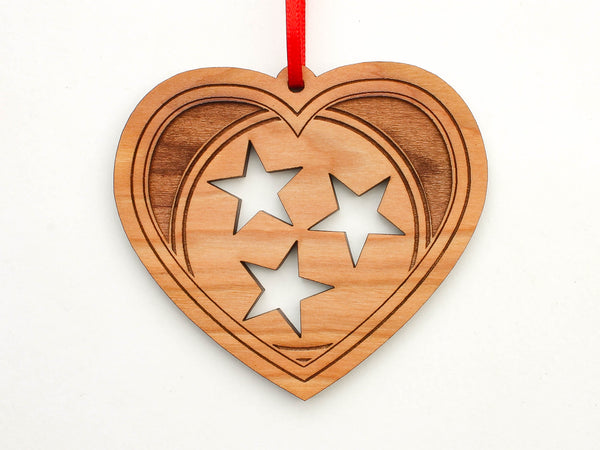 Old Glory Distilling Tennessee Flag Heart Ornament