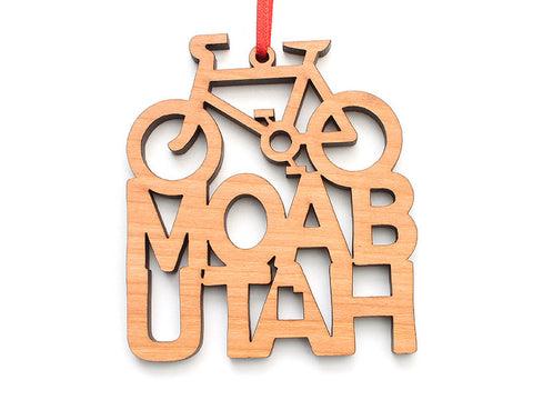 Moab Bike Text Ornament - Nestled Pines