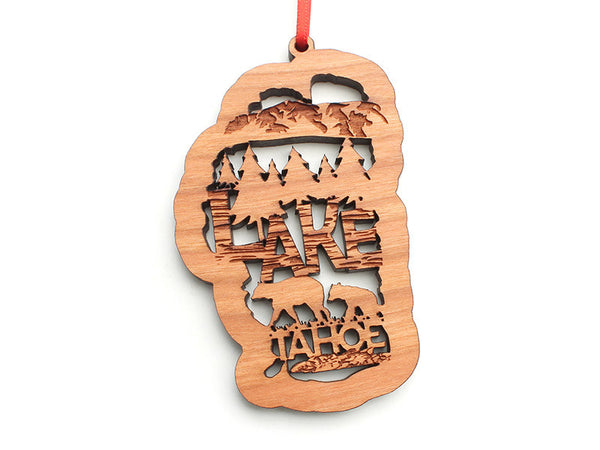 La Belle Lake Tahoe Engraved Text Ornament - Nestled Pines