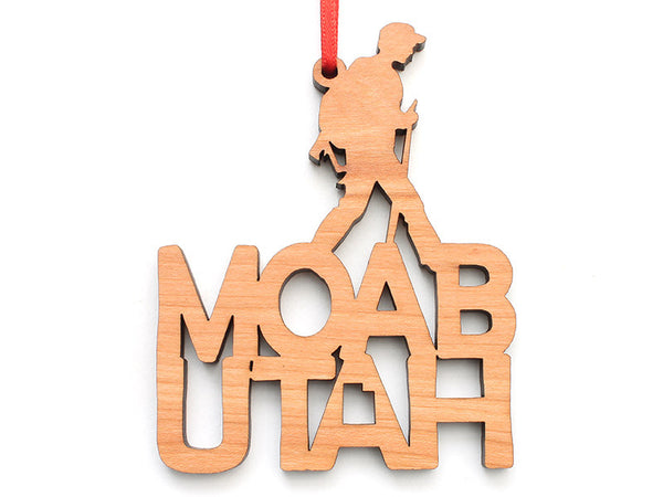Moab Hiker Text Ornament - Nestled Pines
