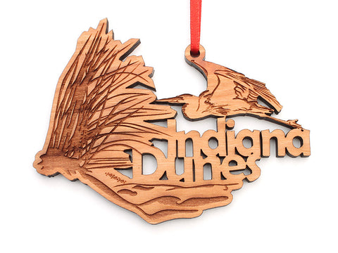 Indiana Dunes Heron Text Custom Ornament - Nestled Pines