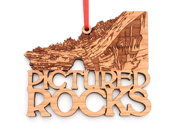 Pictured Rocks Custom Text Ornament - Nestled Pines