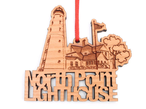 North Point Lighthouse Custom Text Ornament - Nestled Pines