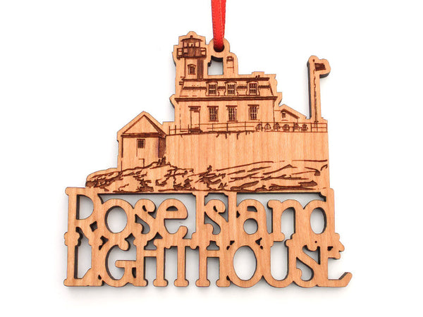 Rose Island Lighthouse Custom Text Ornament - Nestled Pines