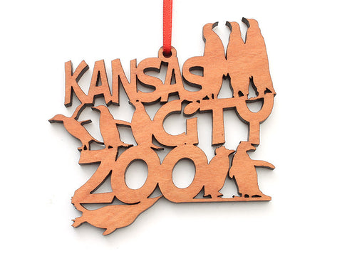 Kansas City Zoo Penguin Text Ornament - Nestled Pines