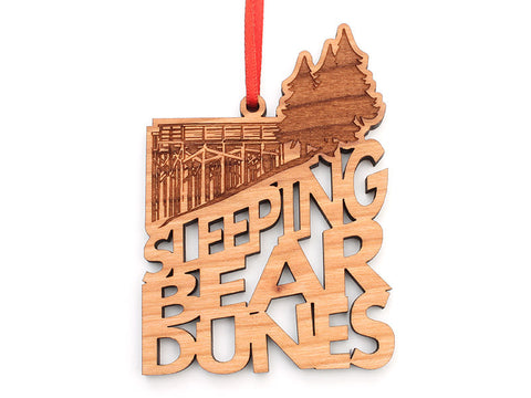 Sleeping Bear Dunes Text Ornament - Nestled Pines