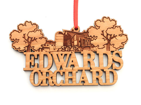 Edwards Orchard Custom Text Ornament - Nestled Pines