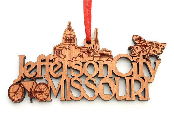 Jefferson City Missouri Text Ornament - Nestled Pines