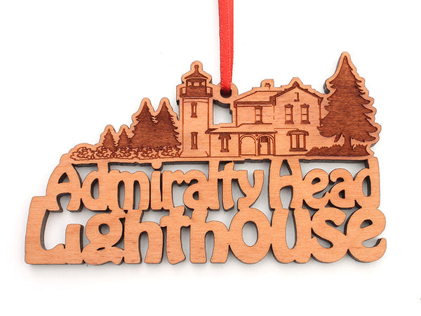 Admiralty Head Lighthouse Custom Text Ornament - Nestled Pines