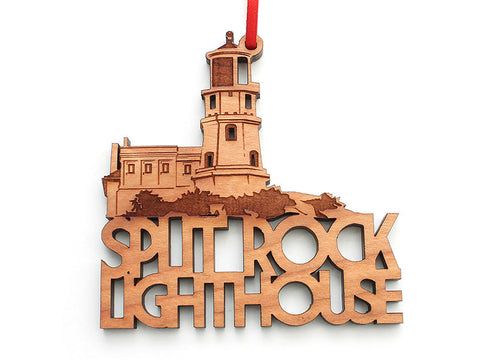 Split Rock Lighthouse Text Ornament - Nestled Pines