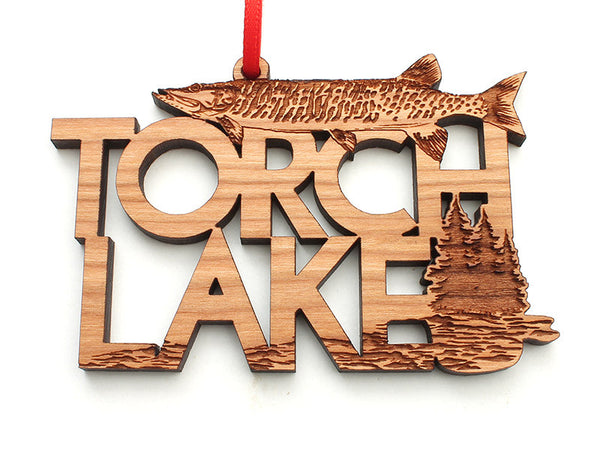 Torch Lake Muskie Custom Text Ornament - Nestled Pines