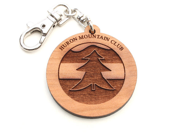 Huron Mountain Tree Logo Key Chain