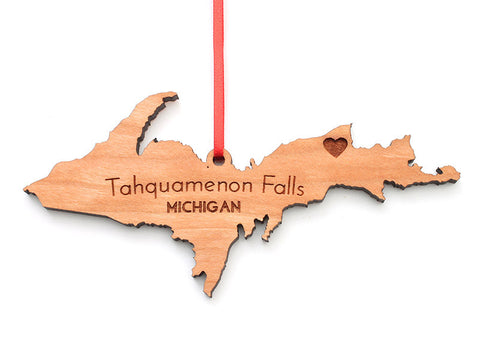 Tahquamenon Falls Upper Michigan Custom Wood State Ornament - Nestled Pines