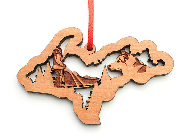 Upper Peninsula Michigan State Custom Ornament with Dogsled Insert Engraved - Nestled Pines