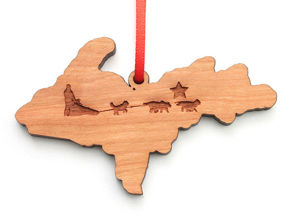 Upper Peninsula Michigan Dogsled Engraved Ornament - Nestled Pines