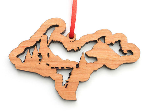 Upper Peninsula Michigan Dogsled Insert Ornament - Nestled Pines