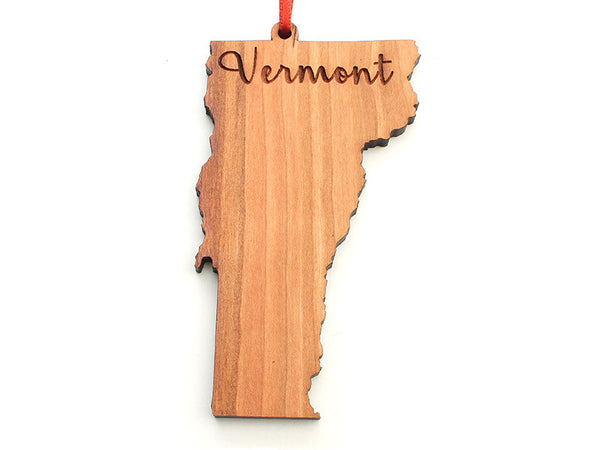 Northshire Bookstore Vermont State Shape Custom Engraved Ornament - Nestled Pines