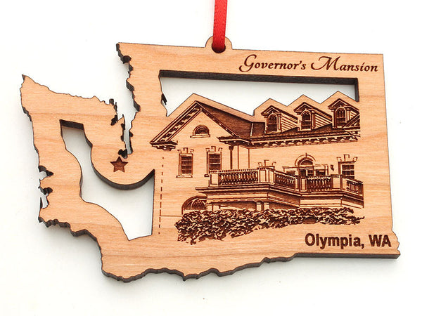Olympia Washington Governor's Mansion Washington State Shape Custom Ornament